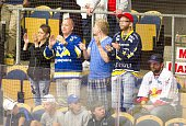 HV71 fans look happy next to Red Bull Salzburg fans looking dejected after the game in Champions Hockey League group stage game between HV71...