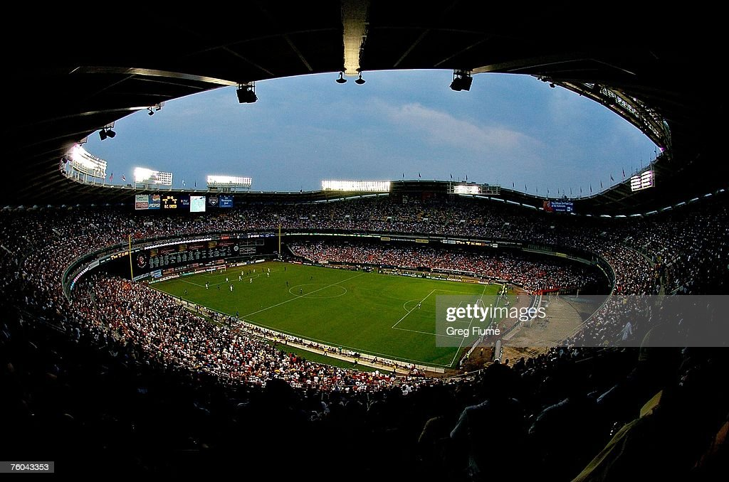 Fans look on as the Los Angeles Galaxy take on DC United at RFK Stadium on August 9 2007 in Washington DC