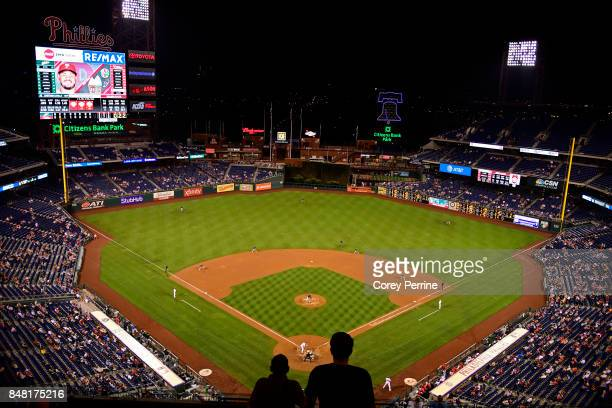 Fans look on as the Philadelphia Phillies host the Oakland Athletics during the eighth inning at Citizens Bank Park on September 16 2017 in...