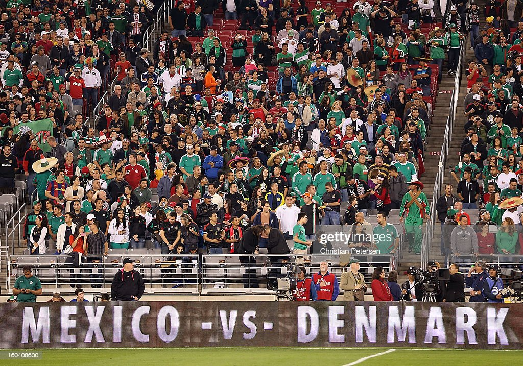 Fans look on before an international friendly match between Denmark and Mexico at University of Phoenix Stadium on January 30, 2013 in Glendale, Arizona. Mexico and Denmark ended in a 1-1 draw.