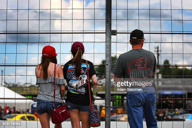 Fans look on before the NASCAR XFINITY Series Overton's 200 at New Hampshire Motor Speedway on July 15 2017 in Loudon New Hampshire