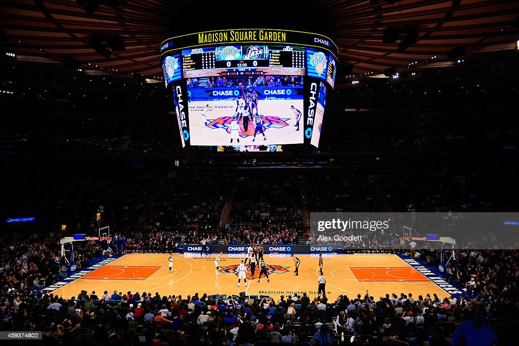 Fans look on during a tipoff between the New York Knicks and Utah Jazz at Madison Square Garden on November 14 2014 in New York City NOTE TO USER...