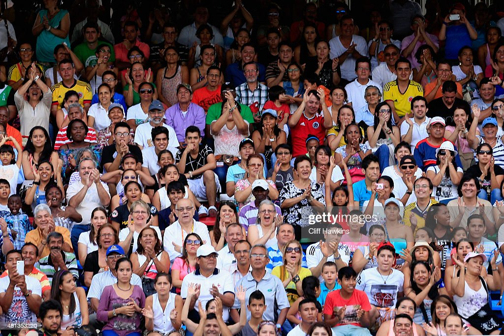 Fans look on during the Boys Pole Vault Final on day five of the IAAF World Youth Championships Cali 2015 on July 19 2015 at the Pascual Guerrero...