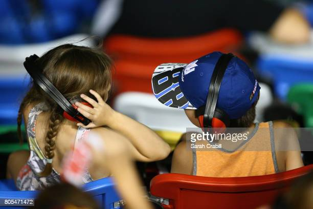 Fans look on during the Monster Energy NASCAR Cup Series 59th Annual Coke Zero 400 Powered By CocaCola at Daytona International Speedway on July 1...