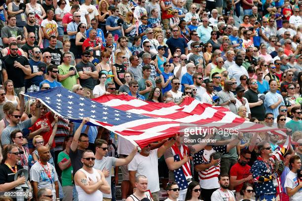Fans look on during the Monster Energy NASCAR Cup Series AAA 400 Drive for Autism at Dover International Speedway on June 4 2017 in Dover Delaware