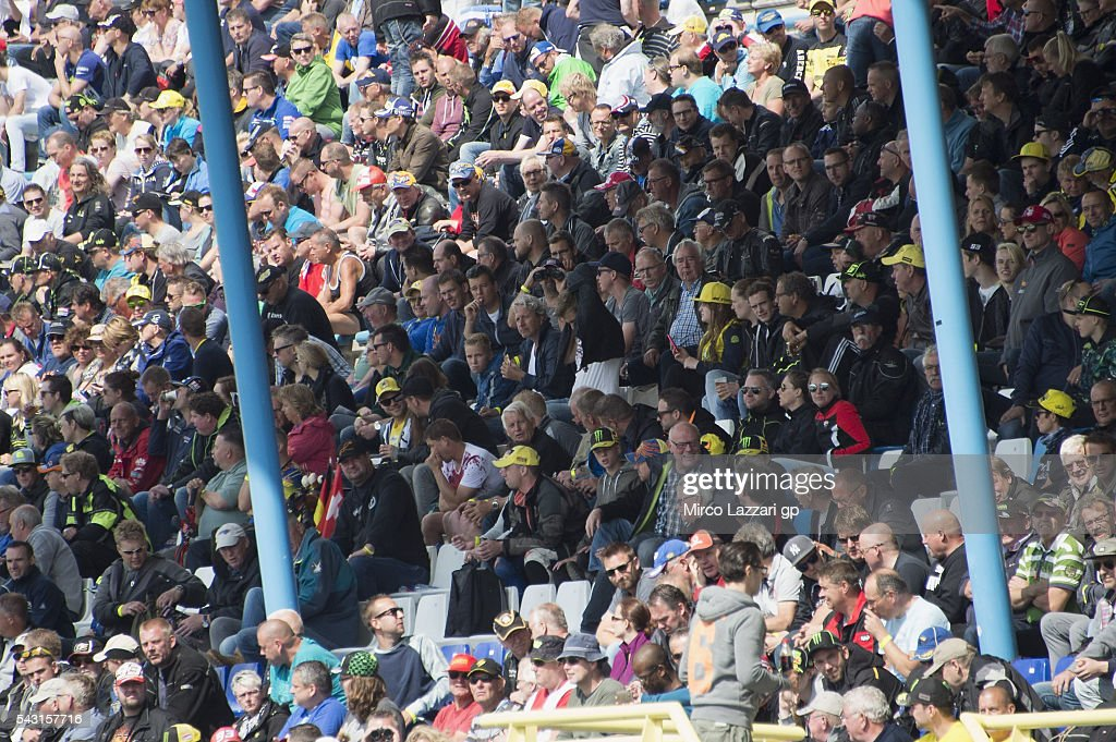 Fans look on during the MotoGP race during the MotoGP Netherlands - Race at on June 26, 2016 in Assen, Netherlands.