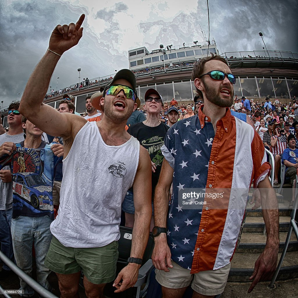 Fans look on during the NASCAR Sprint Cup Series GEICO 500 at Talladega Superspeedway on May 1, 2016 in Talladega, Alabama.