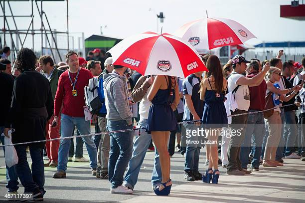 Fans look on during the pit walk during the MotoGP race during the MotoGp of Argentina Race at on April 27 2014 in Rio Hondo Argentina