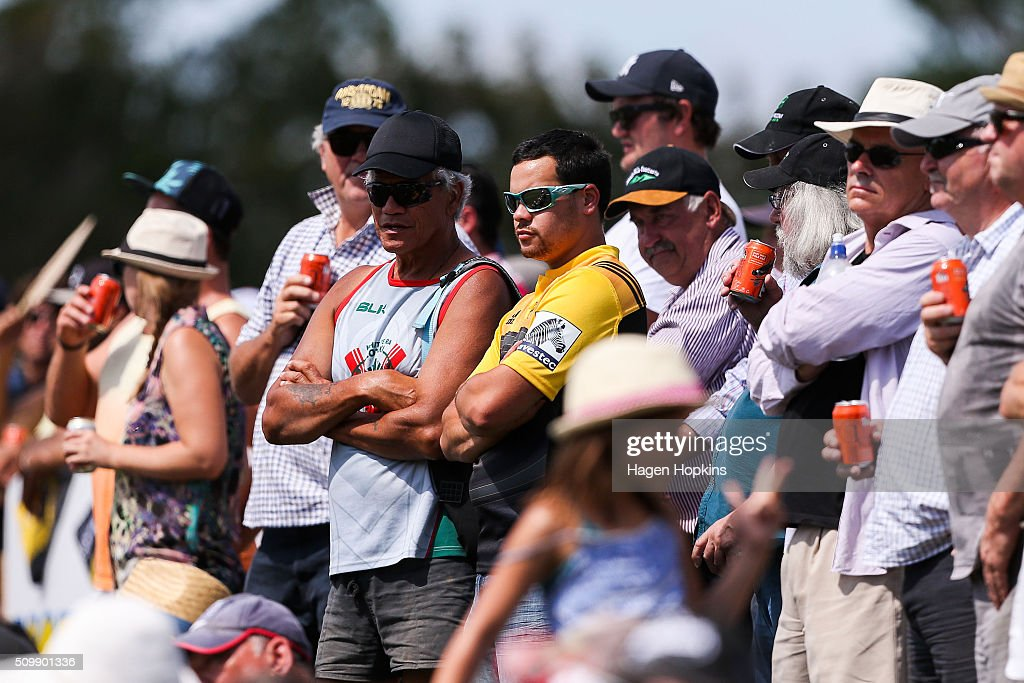 Fans look on during the Super Rugby pre-season match between the Blues and the Hurricanes at Eketahuna Rugby Club on February 13, 2016 in Eketahuna, New Zealand.