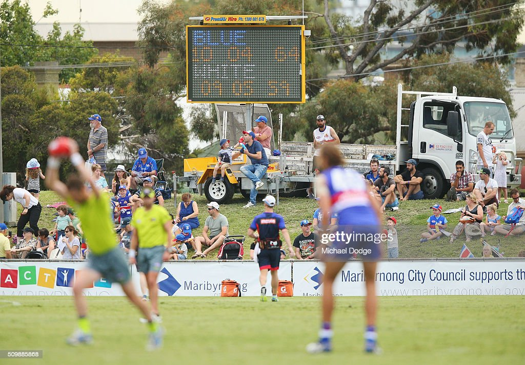 Fans look on during the Western Bulldogs AFL intra-club match at Whitten Oval on February 13, 2016 in Melbourne, Australia.
