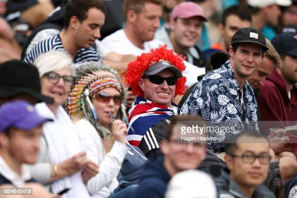 Fans look on from the embankment during day three of the test match between New Zealand and South Africa at Basin Reserve on March 18 2017 in...