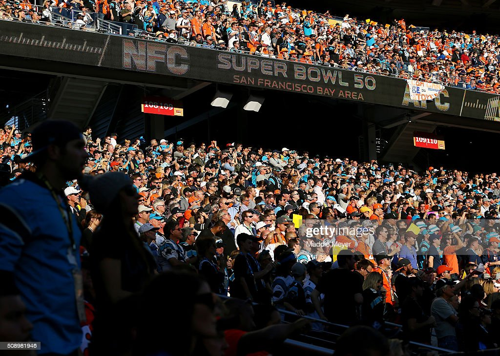 Fans look on in the first quater between the Carolina Panthers and Denver Broncos during Super Bowl 50 at Levi's Stadium on February 7, 2016 in Santa Clara, California.