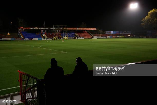 Fans look on over the pitch ahead of the FA Cup First Round Replay match between Aldershot Town and Portsmouth at The Electrical Services Stadium on...