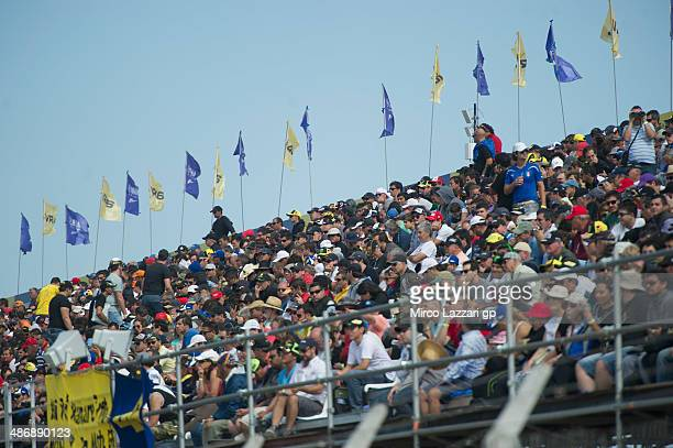 Fans look on the track during the MotoGp of Argentina Qualifying at on April 26 2014 in Rio Hondo Argentina