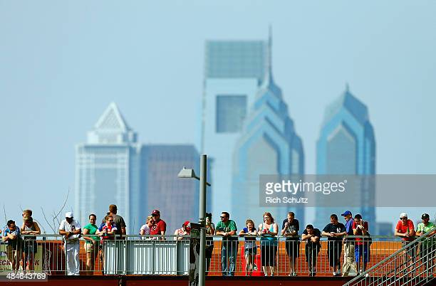 Fans look on with the city skyline behind them as they watch the Philadelphia Phillies against the Miami Marlins at Citizens Bank Park on April 13...