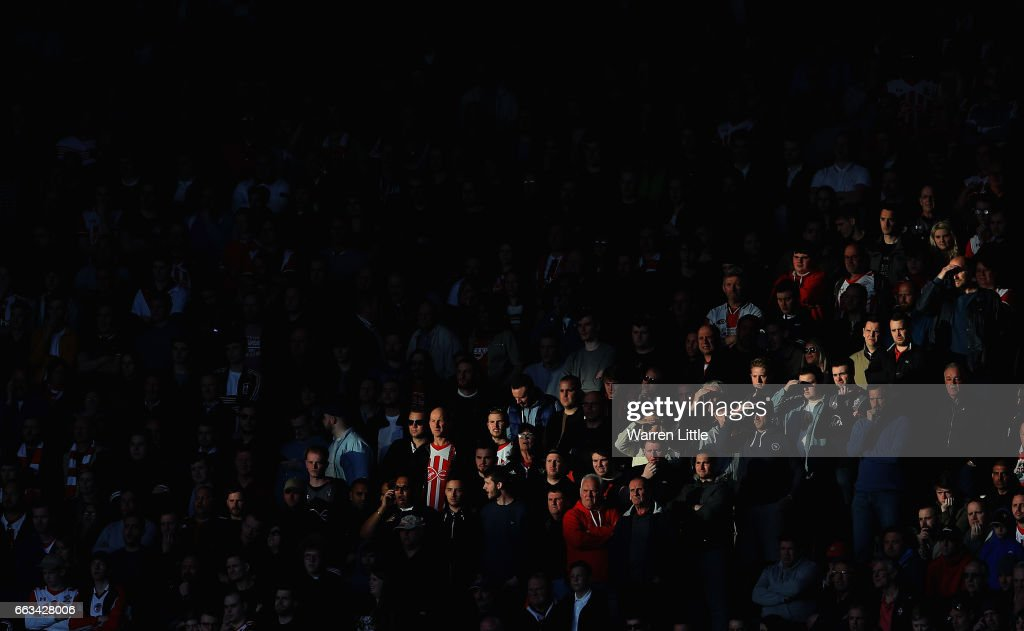 Fans looks on during the Premier League match between Southampton and AFC Bournemouth at St Mary's Stadium on April 1, 2017 in Southampton, England.