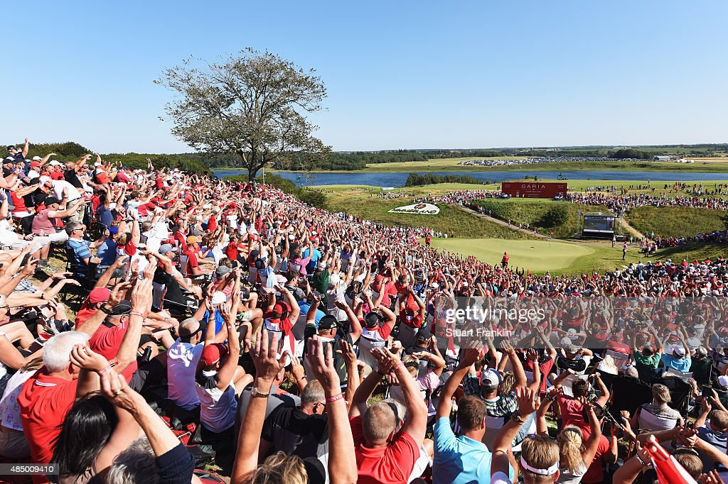 Fans make a mexican wave on the 16th hole during the final round of the Made in Denmark at Himmerland Golf Spa Resort on August 23 2015 in Aalborg...