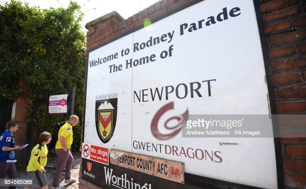 Fans make their way into the ground before the Sky Bet League Two match at Rodney Parade Newport