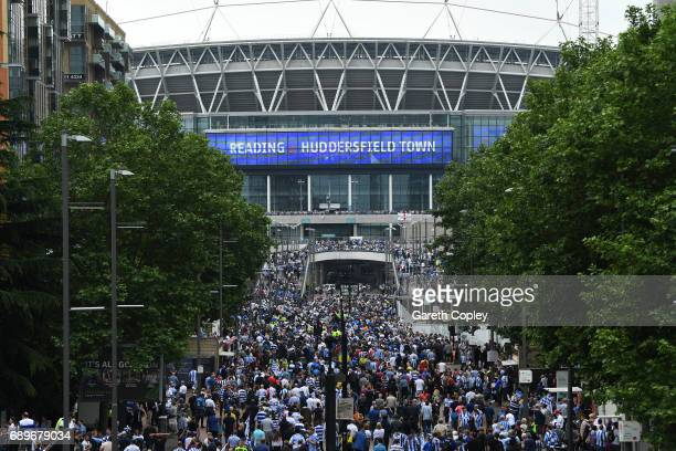 Fans make their way to the stadium prior to kickoff during the Sky Bet Championship play off final between Huddersfield and Reading at Wembley...
