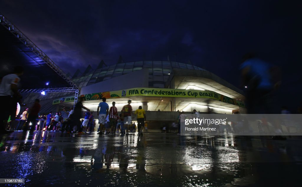 Fans make their way to the stadium prior to the FIFA Confederations Cup Brazil 2013 Group A match between Italy and Japan at Arena Pernambuco on June 19, 2013 in Recife, Brazil.
