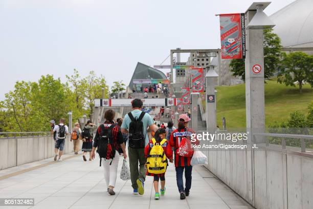 Fans make their way to the stadium prior to the JLeague J1 match between Consadole Sapporo and Shimizu SPulse at Sappaoro Dome on July 1 2017 in...