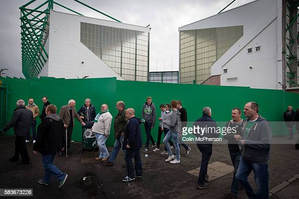 Fans making their way past the Famous Five Stand and the East Stand at Easter Road stadium before the Scottish Championship match between Hibernian...
