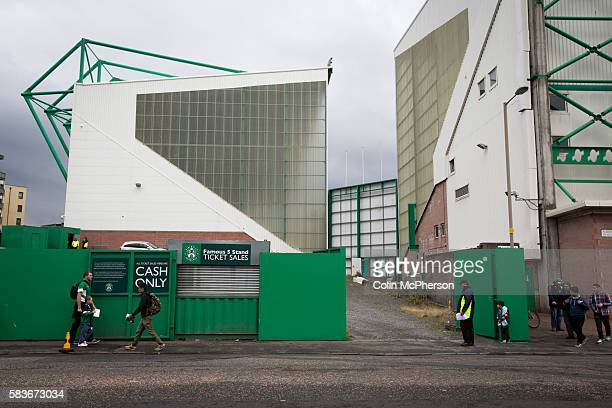 Fans making their way towards the ground at Easter Road stadium before the Scottish Championship match between Hibernian and visitors Alloa Athletic...