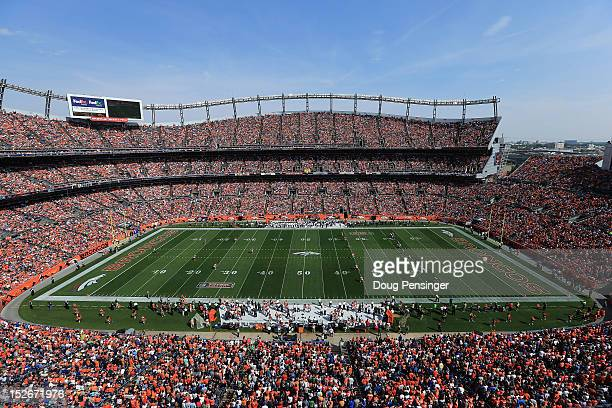Fans observe the the game as the Houston Texans face the Denver Broncos at Sports Authority Field at Mile High on September 23 2012 in Denver...