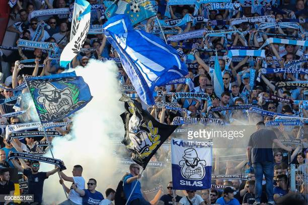 Fans of 1860 Munchen during the Second Bundesliga Playoff first leg match between Jahn Regensburg and TSV 1860 Muenchen at Continental Arena on May...