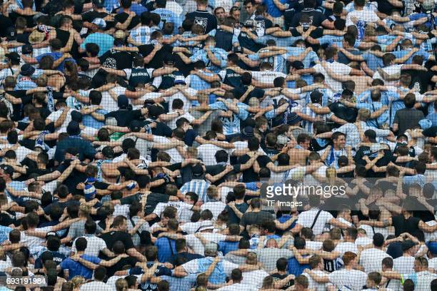 Fans of 1860 Munich during the Second Bundesliga Playoff second leg match between TSV 1860 Muenchen and Jahn Regensburg at Allianz Arena on May 30...