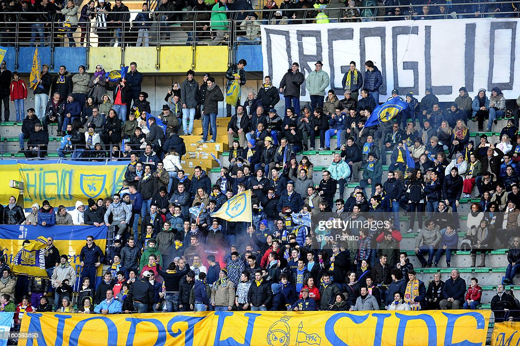 Fans of AC Chievo show their support during the Serie A match between AC Chievo Verona and Juventus FC at Stadio Marc'Antonio Bentegodi on February 3, 2013 in Verona, Italy.