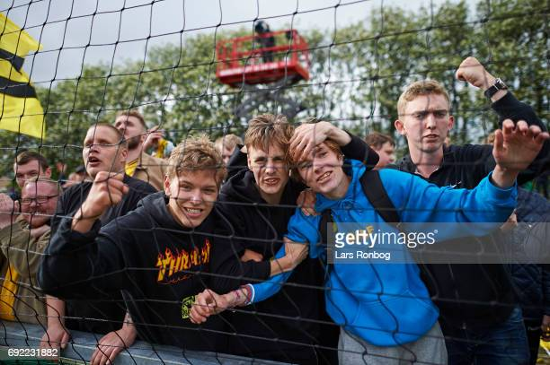 Fans of AC Horsens celebrate after the Danish Alka Superliga Playoff match between Vendsyssel FF and AC Horsens at Bredband Nord Arena on June 4 2017...
