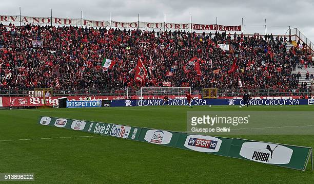 Fans of AC Perugia prior the Serie B match between AC Perugia and Ternana Calcio at Stadio Renato Curi on March 5 2016 in Perugia Italy
