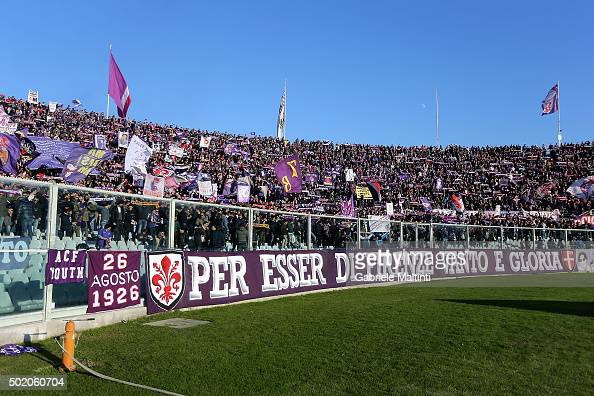 Fans of ACF Fiorentina during the Serie A match between ACF Fiorentina and AC Chievo Verona at Stadio Artemio Franchi on December 20 2015 in Florence...