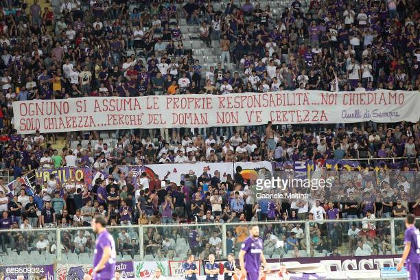 Fans of ACF Fiorentina during the Serie A match between ACF Fiorentina and Pescara Calcio at Stadio Artemio Franchi on May 28 2017 in Florence Italy