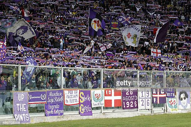 Fans of ACF Fiorentina during the Serie A match between ACF Fiorentina and Bologna FC at Stadio Artemio Franchi on September 23 2015 in Florence Italy