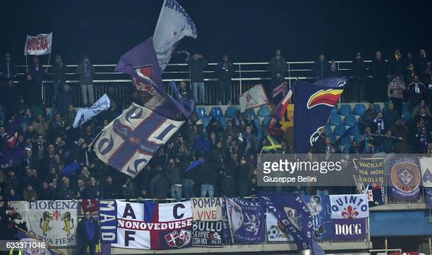 Fans of ACF Fiorentina during the Serie A match between Pescara Calcio and ACF Fiorentina at Adriatico Stadium on February 1 2017 in Pescara Italy