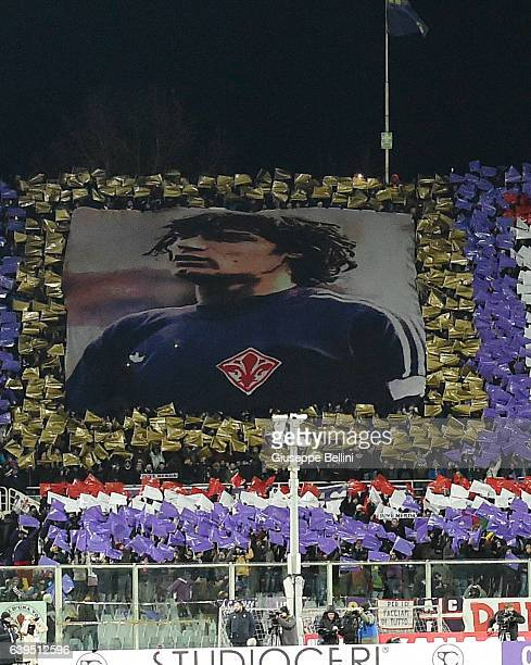 Fans of ACF Fiorentina have prepared a choreography for Giancarlo Antognoni historical purple banner with the number 10 prior the Serie A match...