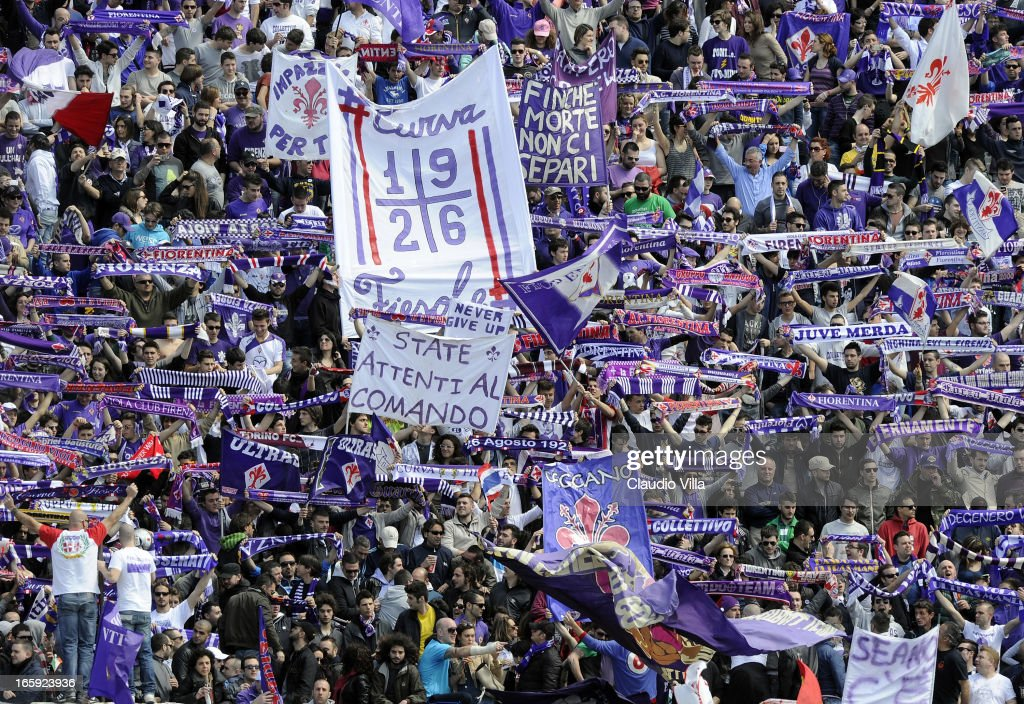 Fans of ACF Fiorentina show their support during the Serie A match between ACF Fiorentina and AC Milan at Stadio Artemio Franchi on April 7, 2013 in Florence, Italy.