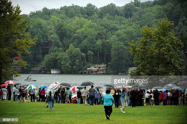 Fans of actor Patrick Swayze and the movie 'Dirty Dancing' show up for a memorial service at Firefly Cove on September 19 in Lake Lure North Carolina...