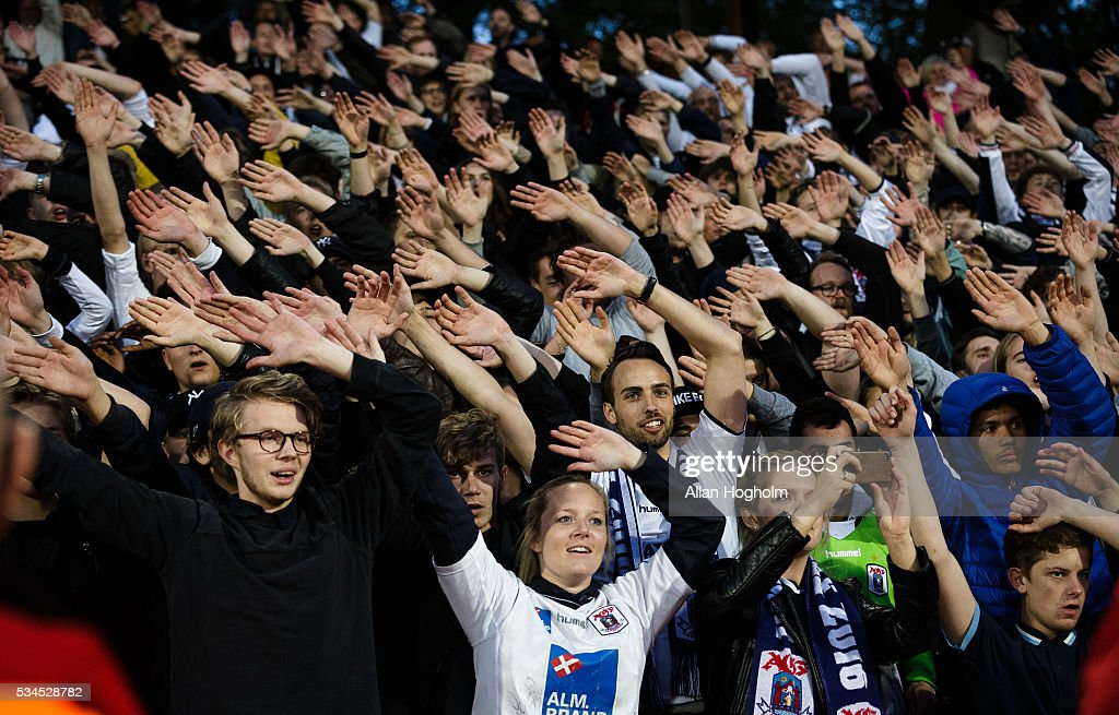 Fans of AGF Aarhus celebrate their victory after the Danish Alka Superliga match between AGF Aarhus and OB Odense at Ceres Park on May 26, 2016 in Aarhus, Denmark.