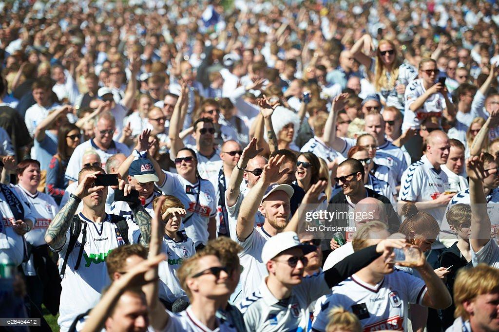 Fans of AGF Arhus celebrate prior to the DBU Pokalen Cup Final match between AGF Arhus and FC Copenhagen at Telia Parken Stadium on May 05, 2016 in Copenhagen, Denmark.