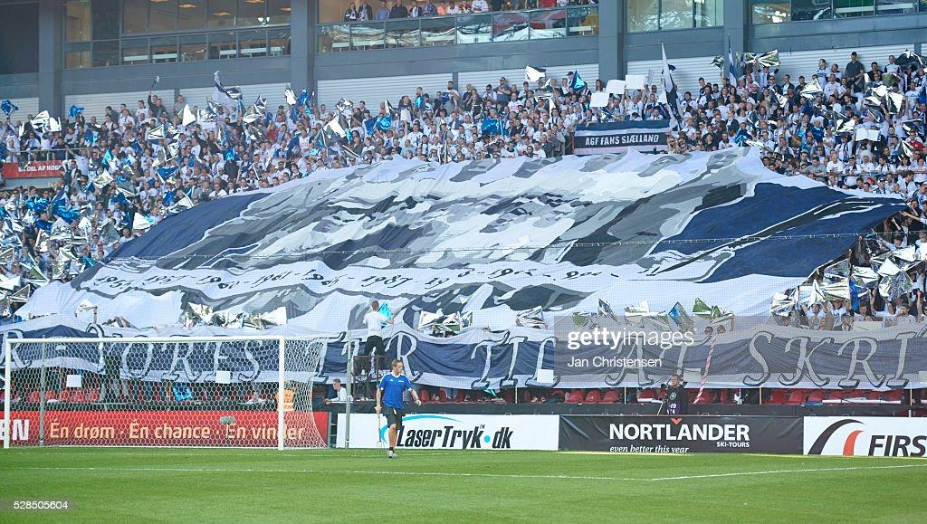 Fans of AGF Arhus prior to the DBU Pokalen Cup Final match between AGF Arhus and FC Copenhagen at Telia Parken Stadium on May 05, 2016 in Copenhagen, Denmark.