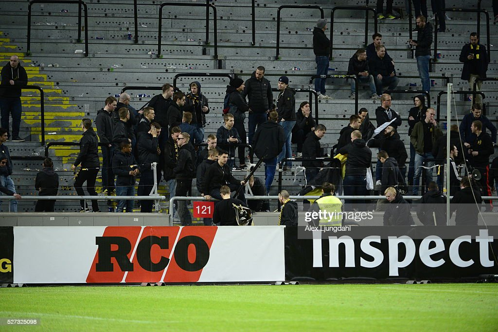 Fans of AIK after the allsvenskan match between AIK and Jonkkoping Sodra IF at Friends arena on May 2, 2016 in Solna, Sweden.