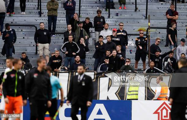 Fans of AIK dissapointed after the Allsvenskan match between AIK and Athletic FC Eskilstura at Friends arena on August 13 2017 in Solna Sweden