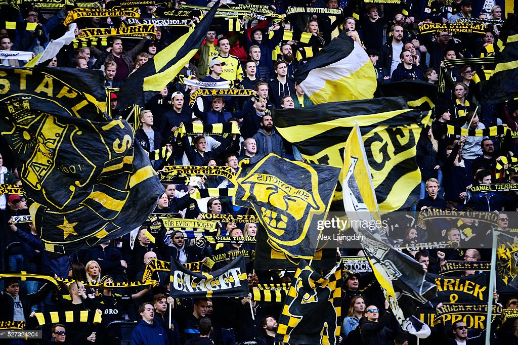 Fans of AIK during the allsvenskan match between AIK and Jonkkoping Sodra IF at Friends arena on May 2, 2016 in Solna, Sweden.