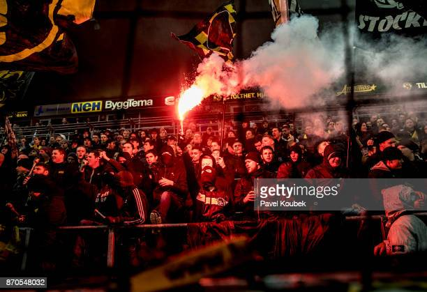 Fans of AIK during the Allsvenskan match between Orebro SK AIK at Behrn Arena on November 5 2017 in Orebro Sweden
