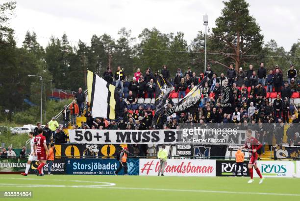 Fans of AIK with a sign during the Allsvenskan match between Ostersunds FK and AIK at Jamtkraft Arena on August 20 2017 in Ostersund Sweden