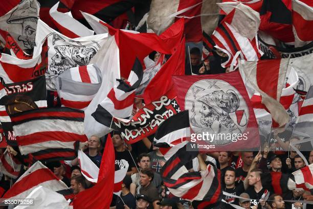 fans of Ajax during the UEFA Europa League fourth round qualifying first leg match between Ajax Amsterdam and RosenBorg BK at the Amsterdam Arena on...