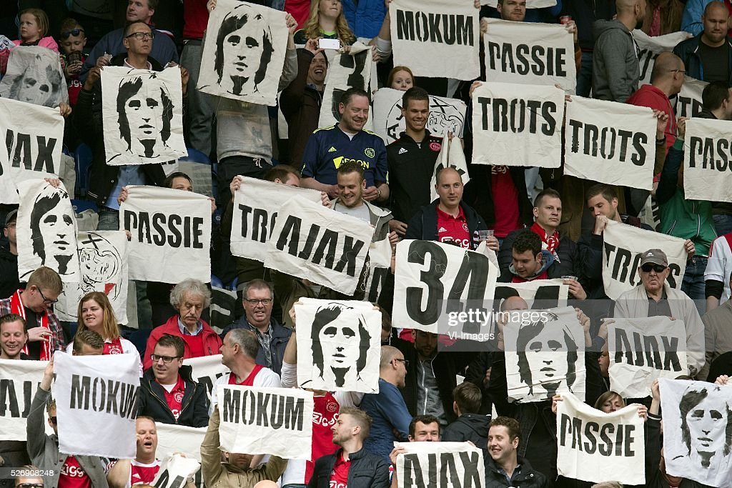 fans of Ajax supporters tribute to Johan Cruijff during the Dutch Eredivisie match between Ajax Amsterdam and FC Twente at the Amsterdam Arena on May 01, 2016 in Amsterdam, The Netherlands
